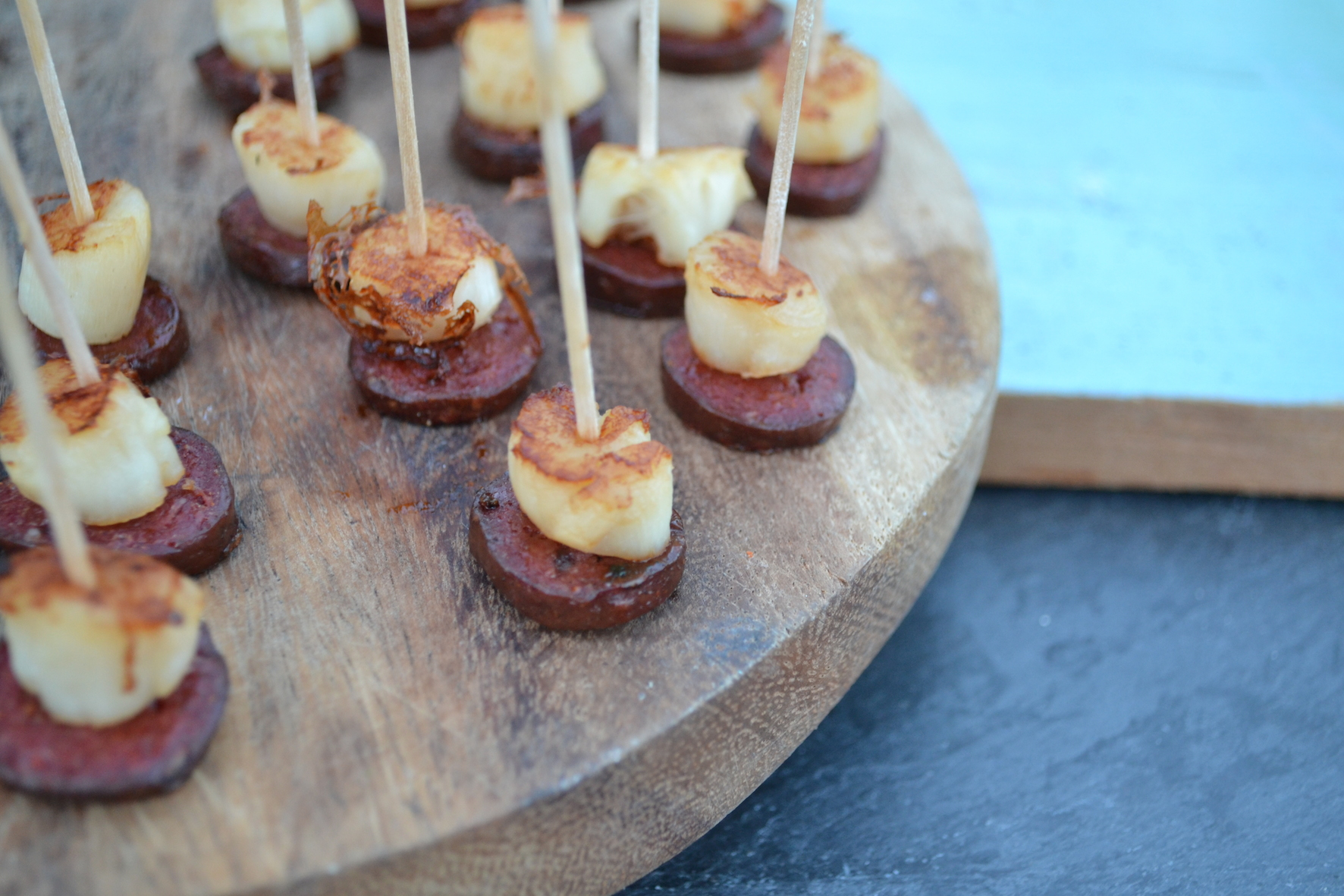 Scallop and chorizo canap recipe for Chorizo canape ideas